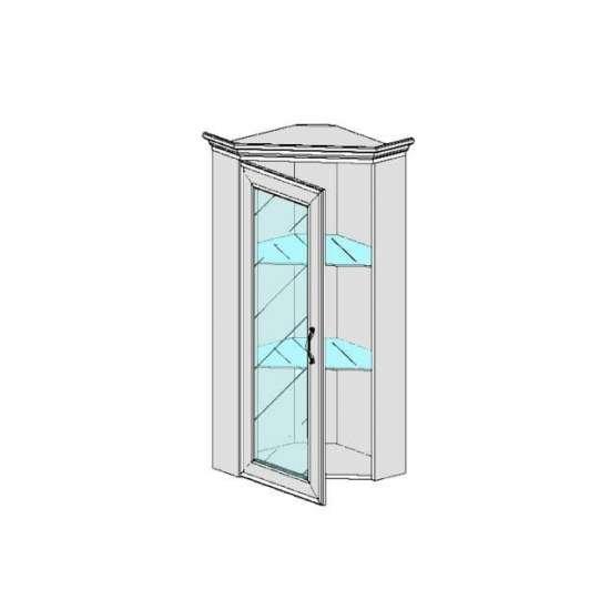 Тиффани шкаф с витриной угловой 1VU каштан